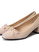 Недорогие -Жен. Балетки Полиуретан Лето Обувь на каблуках На толстом каблуке Круглый носок Бант Винный / Миндальный