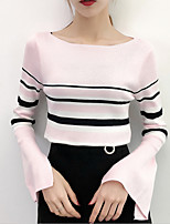 cheap -women's going out long sleeve slim pullover - color block off shoulder