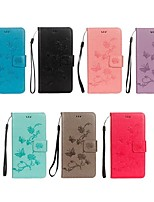 economico -Custodia Per Huawei Y6 (2018) / Y5 III(Y5 2017) A portafoglio / Porta-carte di credito / Con supporto Integrale Farfalla / Fiore decorativo Resistente pelle sintetica per Y9 (2018)(Enjoy 8 Plus