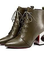 Недорогие -Жен. Fashion Boots Кожа Осень Ботинки На толстом каблуке Сапоги до середины икры Хаки