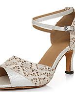Недорогие -Жен. Обувь для латины Сатин На каблуках Тонкий высокий каблук Танцевальная обувь Миндальный