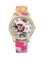 cheap -Women's Wrist Watch Quartz Casual Watch Leather Band Analog Flower Fashion Black / Blue / Red - Blue Pink Light Green