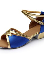 cheap -Women's Latin Shoes Satin / Patent Leather Sandal / Heel Splicing Thick Heel Customizable Dance Shoes Blue