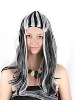 billiga -Syntetiska peruker / Kostymperuker Lockigt Bob-frisyr Syntetiskt hår 28 tum Cosplay / Mjuk / Dam Mörkgrå / Vit Peruk Dam Lång Maskingjord