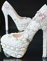 economico -Per donna Stiletto PU (Poliuretano) Primavera & Autunno scarpe da sposa A stiletto Punta tonda Con diamantini / Cristalli / Perle Bianco / Matrimonio / Serata e festa