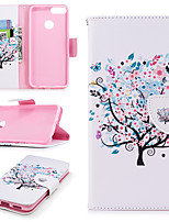 Недорогие -Кейс для Назначение Huawei P smart Кошелек / Бумажник для карт / со стендом Чехол дерево Твердый Кожа PU для P smart