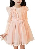 Недорогие -Дети Девочки Классический Однотонный Длинный рукав Платье