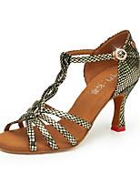 economico -Per donna Scarpe per balli latini Raso Tacchi Tacco cubano Scarpe da ballo Oro / Giallo