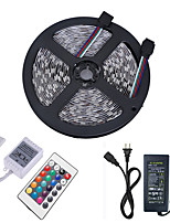 cheap -HKV 5m Light Sets / RGB Strip Lights 300 LEDs 5050 SMD 1 24Keys Remote Controller / 1 X 5A power adapter RGB Cuttable / Linkable / Self-adhesive 12 V