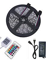 abordables -HKV 5m Ensemble de Luminaires / Barrette d'Eclairage RVB 300 LED 5050 SMD 1 24Keys Télécommande / Adaptateur d'alimentation 1 X 5A RVB Découpable / Connectible / Auto-Adhésives 12 V