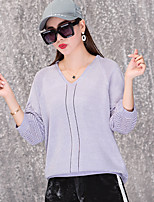 cheap -women's going out long sleeve slim pullover - solid colored v neck