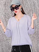 Недорогие -Жен. На выход Длинный рукав Тонкие Пуловер - Однотонный V-образный вырез