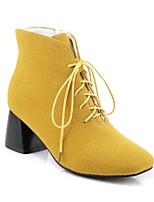 Недорогие -Жен. Обувь Полиуретан Наступила зима Удобная обувь Ботинки На толстом каблуке Черный / Серый / Желтый