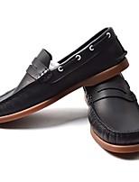Недорогие -Муж. Кожа Весна / Осень Удобная обувь Мокасины и Свитер Черный / Винный