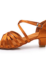 cheap -Women's Latin Shoes Satin Sandal / Heel Buckle Thick Heel Customizable Dance Shoes Dark Brown