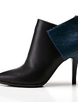 Недорогие -Жен. Fashion Boots Кожа Наступила зима Английский Ботинки На шпильке Заостренный носок Ботинки Черный / Винный / Для вечеринки / ужина / Контрастных цветов
