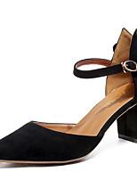Недорогие -Жен. Замша Лето На каждый день Обувь на каблуках На толстом каблуке Черный / Миндальный