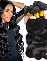 Недорогие -4 Связки Бразильские волосы Естественные кудри 8A Натуральные волосы Головные уборы Человека ткет Волосы Аксессуары для костюмов 8-28 дюймовый Черный Естественный цвет Ткет человеческих волос