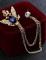 cheap -Men's Cubic Zirconia Stylish / Link / Chain Brooches - Fashion, Elegant, British Brooch Black / Blue For Wedding / Holiday