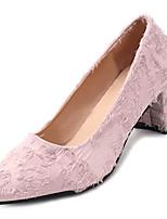 Недорогие -Жен. Полиуретан Лето Туфли лодочки Обувь на каблуках На толстом каблуке Заостренный носок Черный / Розовый