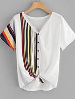 billiga -Randig / Leopard Utekväll T-shirt Dam V-hals