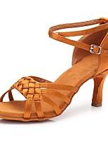 cheap -Women's Latin Shoes Satin Sandal / Heel Buckle Cuban Heel Customizable Dance Shoes Dark Brown