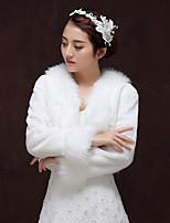 cheap -Long Sleeve Faux Fur Wedding / Birthday Women's Wrap With Split Joint Shrugs