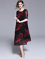 cheap -Women's Chinoiserie / Elegant Shift Dress - Floral Print