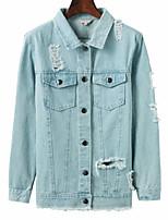 Недорогие -Жен. Джинсовая куртка Активный - Цветочные / ботанический С принтом