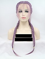 cheap -Synthetic Lace Front Wig Wavy Braid 130% Density Synthetic Hair 24 inch Women Purple Wig Women's Mid Length Lace Front Purple / Yes
