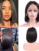 cheap -Remy Human Hair Lace Front Wig Indian Hair Straight Wig Bob Haircut 150% Best Quality / New Arrival / Hot Sale Women's Mid Length Human Hair Lace Wig