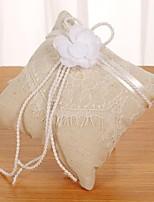 abordables -Tissus Perle fausse / Dentelle Satin Oreiller d'anneau Thème plage / Thème jardin / Thème papillon Toutes les Saisons
