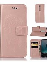 Недорогие -Кейс для Назначение Nokia Nokia X6 Кошелек / Бумажник для карт / со стендом Чехол Сова Твердый Кожа PU для Nokia X6