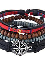 Недорогие -Муж. Плетение Wrap Браслеты Кожаные браслеты - Кожа Звезда Винтаж, европейский, Мода Браслеты Бижутерия Черный Назначение Повседневные