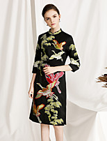 cheap -Women's Vintage / Chinoiserie Sheath Dress - Animal Embroidered