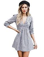 baratos -Mulheres Moda de Rua Algodão Vestido - Estampado, Quadriculada Decote V Mini Preto & Branco