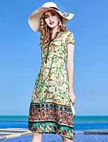 Недорогие -Жен. Винтаж / Классический Оболочка Платье - Цветочный принт Средней длины
