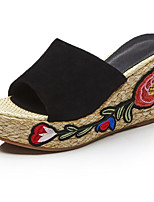 Недорогие -Жен. Обувь Овчина Лето Удобная обувь Тапочки и Шлепанцы Туфли на танкетке Черный / Зеленый