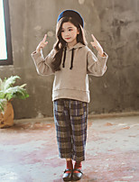 cheap -Kids Girls' Active / Street chic School Solid Colored / Check Long Sleeve Long Cotton Clothing Set