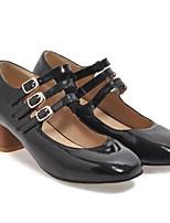 Недорогие -Жен. Комфортная обувь Лакированная кожа Осень Обувь на каблуках На толстом каблуке Черный / Красный / Миндальный