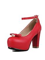 Недорогие -Жен. Полиуретан Весна лето Удобная обувь Обувь на каблуках На толстом каблуке Черный / Красный / Розовый