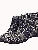 Недорогие -Жен. Обувь Кожа Наступила зима Армейские ботинки Ботинки На низком каблуке Круглый носок Ботинки Пряжки Серый / Контрастных цветов
