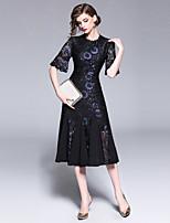 Недорогие -Жен. Оболочка Платье - Цветочный принт, Кружева Средней длины