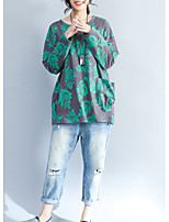 baratos -Mulheres Tamanhos Grandes Camiseta Floral Algodão