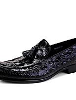 cheap -Men's Formal Shoes Cowhide Spring / Fall Loafers & Slip-Ons Black / Brown / Wine / Tassel