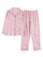 cheap -Women's Shirt Collar Suits Pajamas Floral