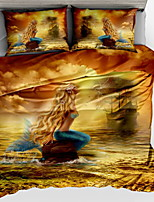 cheap -Duvet Cover Sets 3D Polyster Reactive Print 3 Piece / 3pcs (1 Duvet Cover, 2 Shams)