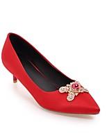 Недорогие -Жен. Балетки Полотно Весна лето Обувь на каблуках На шпильке Красный / Синий / Розовый