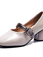 Недорогие -Жен. Полиуретан Лето Удобная обувь Обувь на каблуках На толстом каблуке Квадратный носок Черный / Бежевый / Хаки