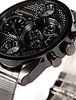 baratos -Oulm Homens Relógio de Pulso Quartzo Dois Fusos Horários Relógio Casual Aço Inoxidável Banda Analógico Luxo Fashion Preta - Preto